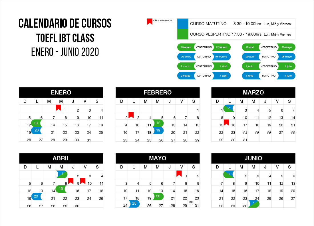 calendario cursos TOEFL IBT 2020